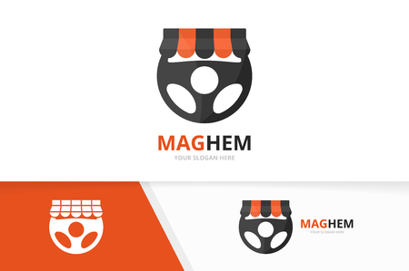 A Vector car helm and shop logo combination. Steering wheel and sale symbol or icon. Unique rudder and market logotype design template.