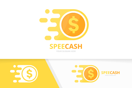 Vector fast coin logo combination. Speed money symbol or icon. Unique cash and digital logotype design template.
