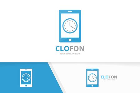 Vector clock and phone logo combination. Time and mobile symbol or icon. Unique express and device logotype design template.