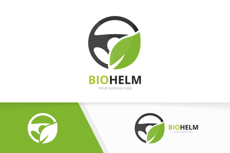 Vector car helm and leaf logo combination. Steering wheel and eco symbol or icon. Unique rudder and organic logotype design template. Иллюстрация