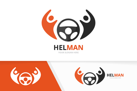 Vector car helm and people logo combination. Steering wheel and family symbol or icon. Unique rudder and union, help, connect, team logotype design template.
