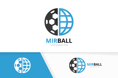 Vector soccer and planet icon combination. Ball and world symbol or icon. Unique football and globe icon design template.