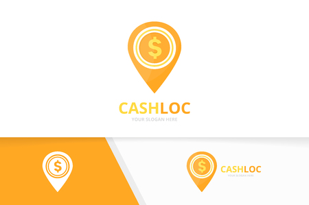 Vector coin and map pointer logo combination. Money and gps locator symbol or icon. Unique cash and pin logotype design template.