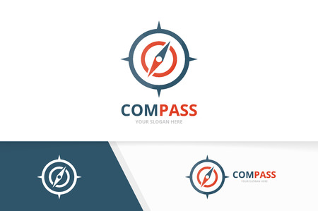 Vector compass logo combination. Navigation symbol or icon. Unique travel logotype design template.