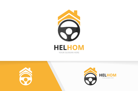 Vector car helm and real estate logo combination. Steering wheel and house symbol or icon. Unique rudder and rent logotype design template. 向量圖像