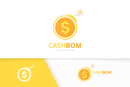 Vector coin and bomb logo combination. Money and detonate symbol or icon. Unique cash and weapon logotype design template.