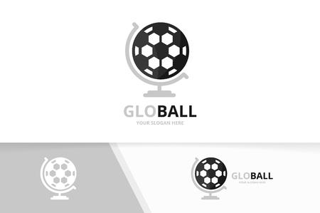Vector soccer and globe logo combination. Ball planet symbol or icon. Unique football logotype design template. Ilustração