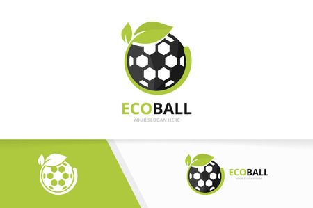 Vector soccer and leaf logo combination. Ball and eco symbol or icon. Unique football and organic logotype design template.