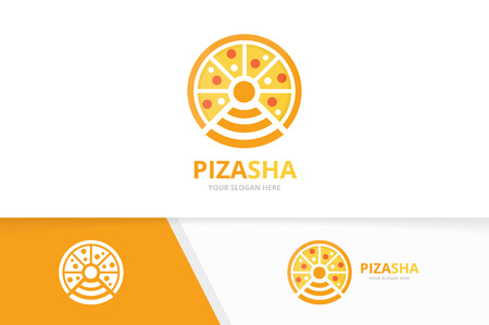 Vector pizza and wifi logo combination. Food and signal symbol or icon. Unique pizzeria and radio, internet logotype design template.