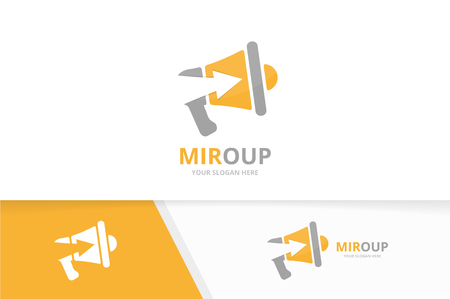 Vector megaphone and arrow up logo combination. Bullhorn and growth symbol or icon. Unique announcement and upload logotype design template