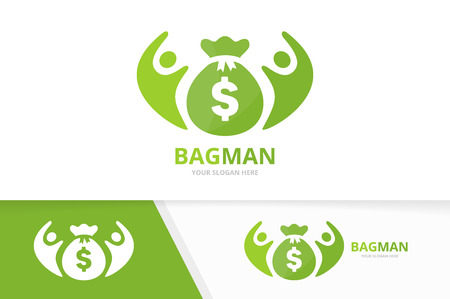 Vector bag and people logo combination. Sack and family symbol or icon. Unique money and union, help, connect, team logotype design template.