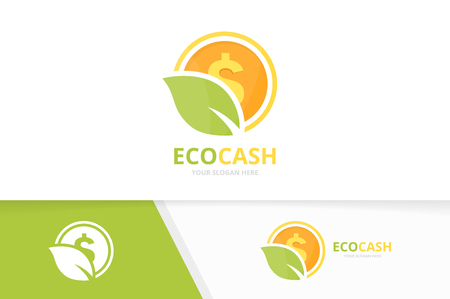Vector coin and leaf logo combination. Money and eco symbol or icon. Unique cash and organic logotype design template. 일러스트