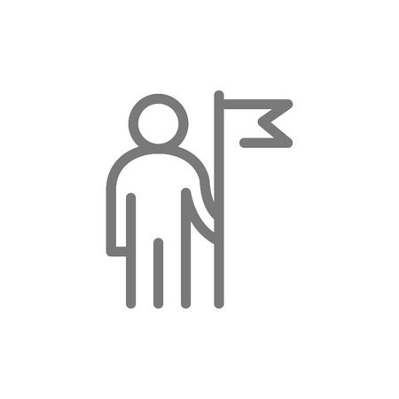 Simple business man with a flag line icon. Symbol and sign vector illustration design. Isolated on white background.