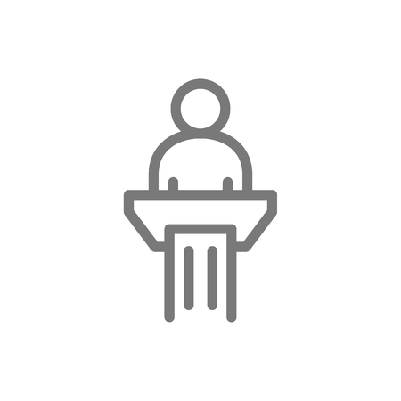 Simple man in pulpit line icon. Public speaking symbol and sign vector illustration design. Isolated on white background. 일러스트