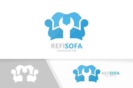 Vector sofa logo combination. Couch and repair symbol or icon. Unique armchair and fix logotype design template.
