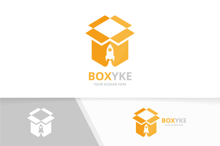 Vector box and rocket icon combination. Package and airplane symbol or icon. Unique delivery and flight design template.