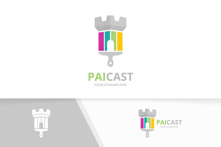 Vector castle and brush logo combination. Tower and paintbrush symbol or icon.