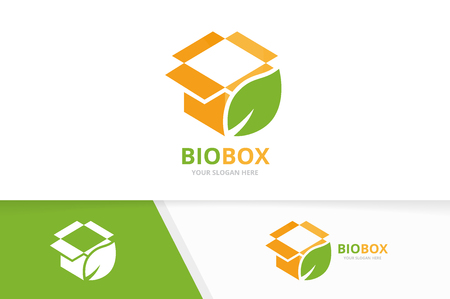 Vector box and leaf logo combination. Package and eco symbol or icon. Unique delivery and organic logotype design template. Illusztráció