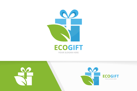 Vector gift and leaf logo combination. Present and eco symbol or icon. Unique surprise and organic logotype design template. Çizim