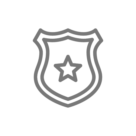 Simple police office badge line icon. Symbol and sign vector illustration design. Isolated on white background
