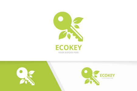 Vector key and leaf logo combination. Lock and eco symbol or icon. Unique house and organic logotype design template.