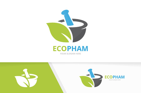 Vector pharmacy and leaf logo combination. Pounder and eco symbol or icon. Unique mortar and pestle logotype design template.