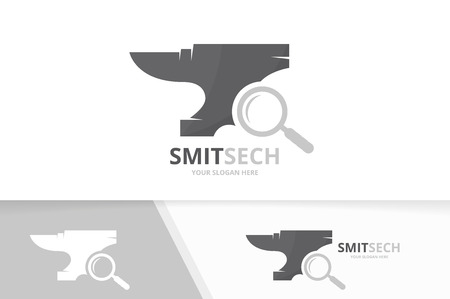 Vector smith and loupe logo combination. Blacksmith and magnifying symbol or icon. Unique metal and search logotype design template.