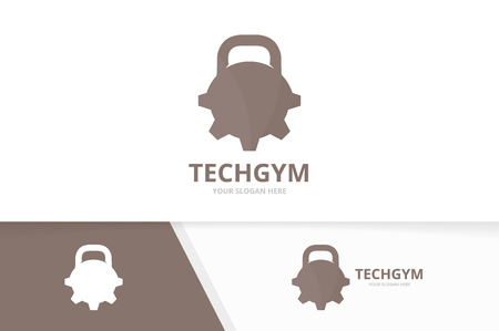 Vector sport and gear logo combination. Gym and mechanic symbol or icon. Unique fitness and industrial logotype design template.