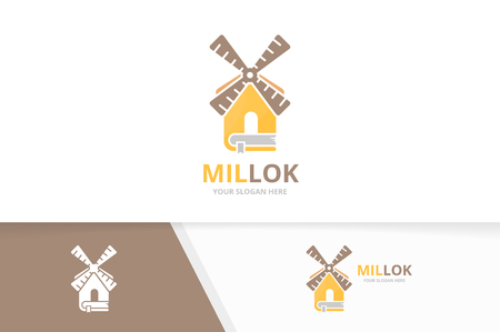 Vector mill and book logo combination. Farm and library symbol or icon. Unique windmill and bookstore logotype design template.