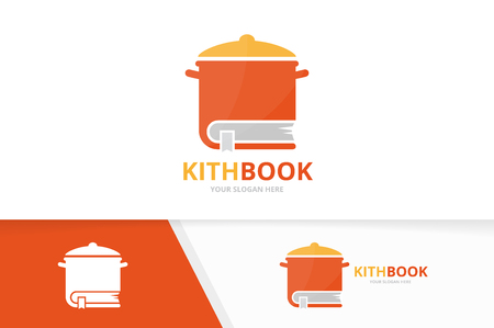 Vector pot and book logo combination. Kitchen and library symbol or icon. Unique pan and bookstore logotype design template.