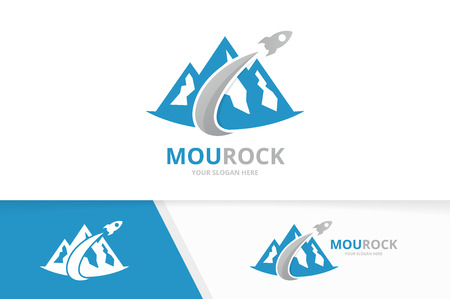 Vector mountain and rocket logo combination. Nature and airplane symbol or icon. Unique hill and flight logotype design template.