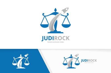 Vector libra and rocket logo combination. Scales and airplane symbol or icon. Unique law and flight logotype design template.