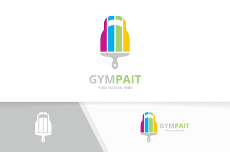 Vector sport and brush logo combination. Gym and paintbrush symbol or icon. Unique fitness and print logotype design template. 向量圖像
