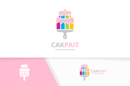 Vector cake and brush logo combination. Pie and paintbrush symbol or icon. Unique cupcake and print logotype design template.