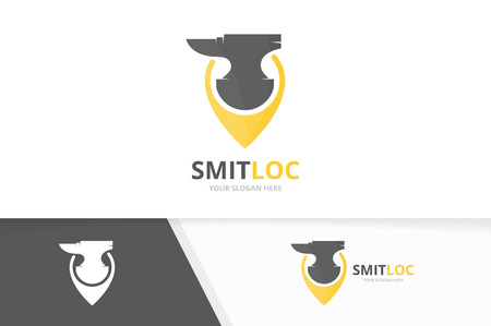 Vector smith and map pointer logo combination. Blacksmith and gps locator symbol or icon. Unique metal and pin logotype design template.