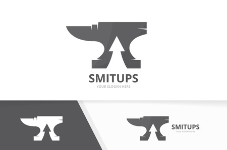 Vector smith and arrow up logo combination. Blacksmith and growth symbol or icon. Unique metal and upload logotype design template. Illustration