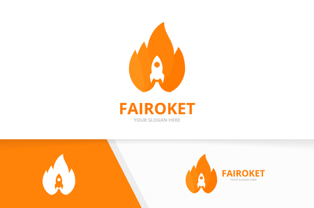 Vector fire and rocket logo combination. Flame and start up symbol or icon. Unique torch and spaceship logotype design template. Logó