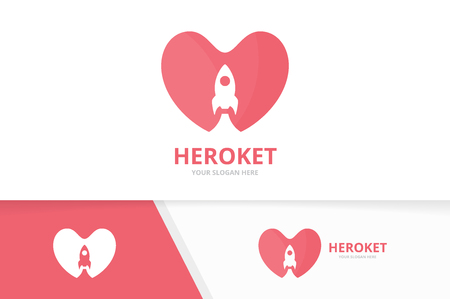 Vector heart and rocket logo combination. Love and start up symbol or icon. Unique romantic and spaceship logotype design template.