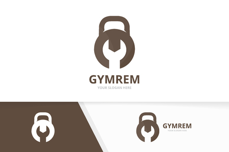 Vector sport and repair logo combination. Gym and fix symbol or icon. Unique fitness and service logotype design template.