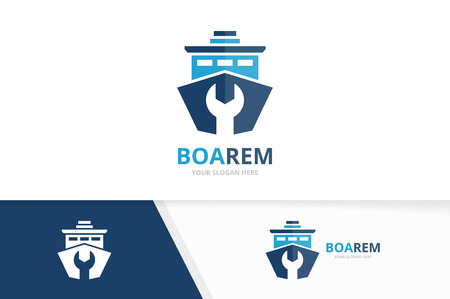 Vector ship and repair logo combination. Boat and fix symbol or icon. Unique yacht and service logotype design template. Çizim