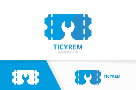 vector ticket and repair logo combination ducket and fix symbol
