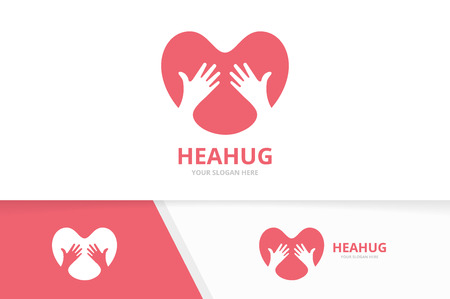 Vector heart and hands logo combination. Love and embrace symbol or icon. Unique romantic and friendship logotype design template.