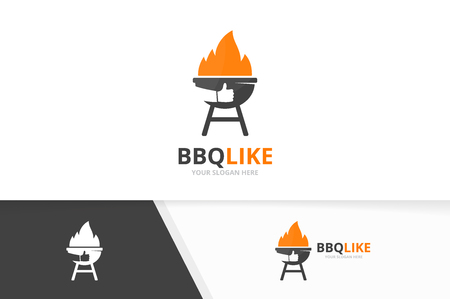 Vector bbq and like logo combination. Grill and best symbol or icon. Unique barbecue and choice logotype design template.