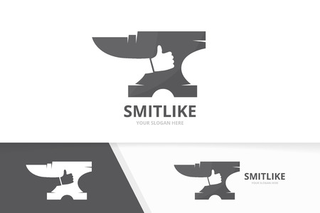 Vector smith and like logo combination. Blacksmith and best symbol or icon. Unique metal and choice logotype design template. Иллюстрация