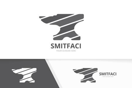 Combinaison de logo vectoriel smith. Symbole ou icône de forgeron. Modèle de conception de logo métallique unique.