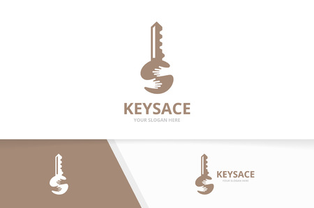 Vector key and hands logo combination. Lock and hug symbol or icon. Unique house and embrace logotype design template. 向量圖像