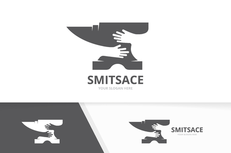 Vector smith and hands logo combination. Blacksmith and hug symbol or icon. Unique metal and embrace logotype design template.