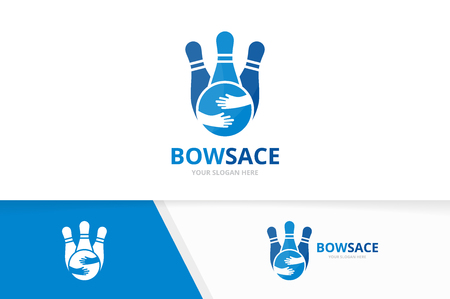 Vector bowling and hands logo combination. Game and hug symbol or icon. Unique kegling and embrace logotype design template.