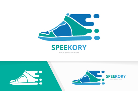 Vector fast sneaker logo combination. Speed shoe symbol or icon. Unique footwear and quick logotype design template. 向量圖像