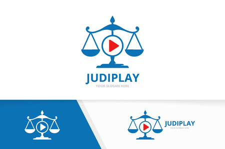 Vector libra and play button logo combination. Scales and record symbol or icon. Unique law and connect logotype design template.